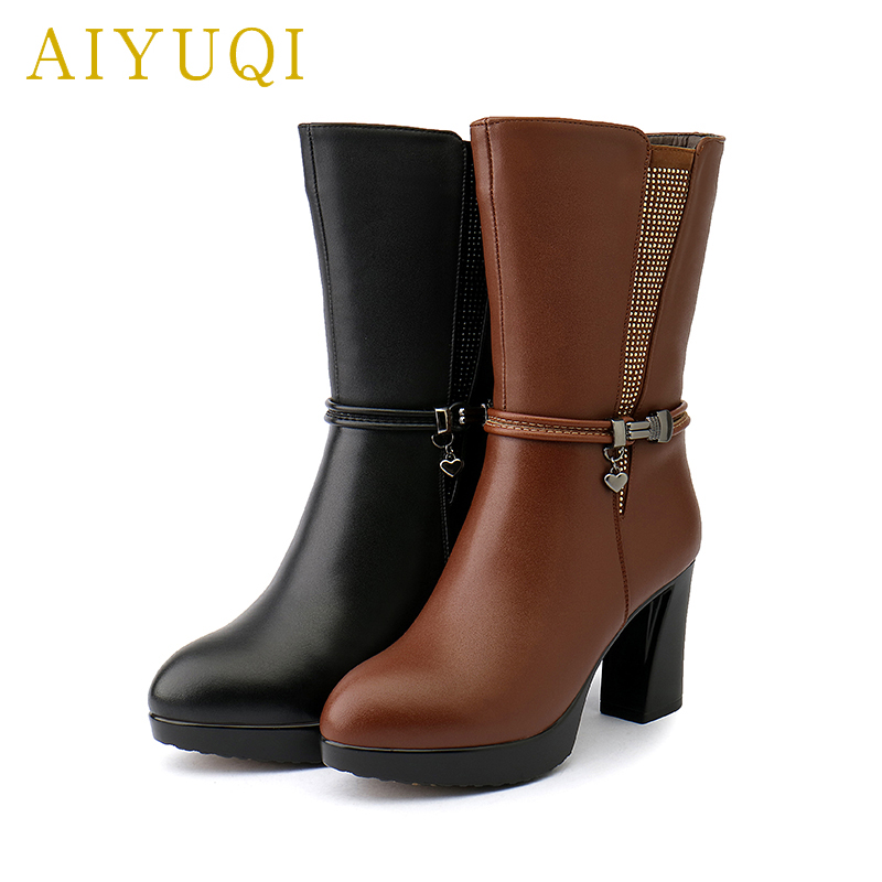 AIYUQI 2019 new genuine leather female winter boots thick warm wool boots women high heeled trend women Martin boots shoes in Mid Calf Boots from Shoes