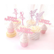 5pcs/lot Elf Fairy Ballet Girl Cake Topper Birthday Wedding princess  cake flag Party Baking Decoration Supplies