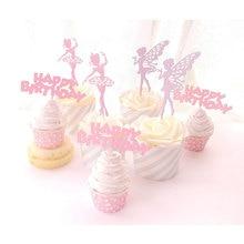 5pcs/lot Elf Fairy Ballet Girl Cake Topper Birthday Wedding princess  cake flag Party Baking Decoration Supplies