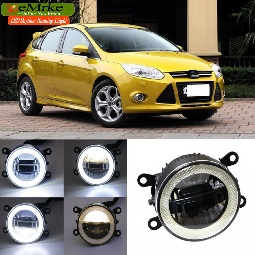 eeMrke For Ford Focus 2 3 2009-2014 3 in 1 LED DRL Angel Eye Fog Lamp Car Styling High Power Daytime Running Lights Accessory eemrke car led drl for honda odyssey jdm 2014 2015 2016 high power xenon white fog cover daytime running lights kits