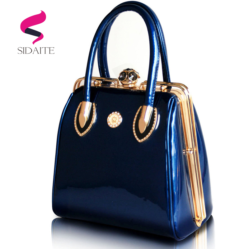 Fashion Women Handbags Designer for Wedding Ladies Crystal Diamond Evening Bag Patent Leather Bride Large Tote