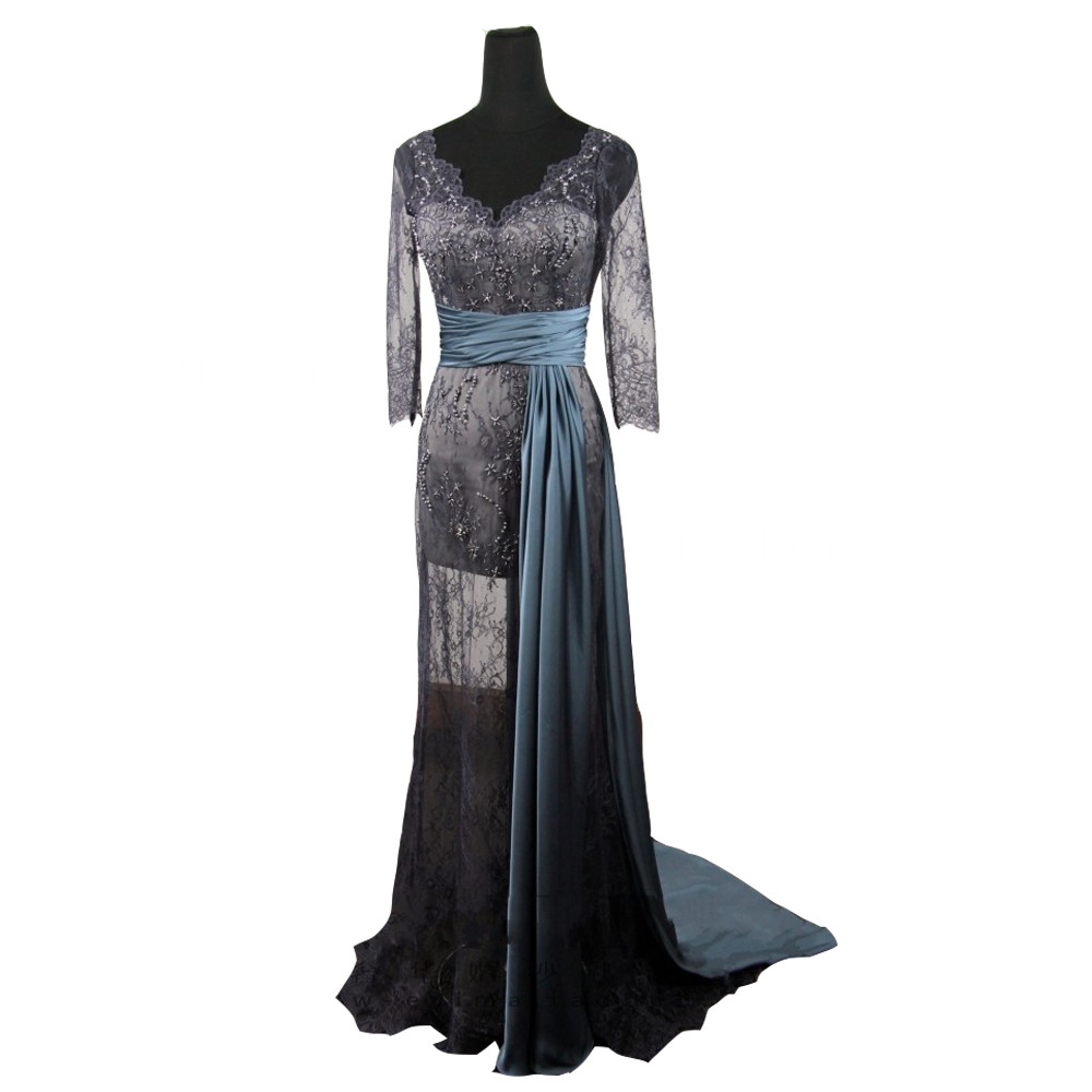 Evening Dress robe de soiree Gossip Girl Blake Lively Long Sleeves Evening  Party Grey Lace Prom 4b5313cc2cbc