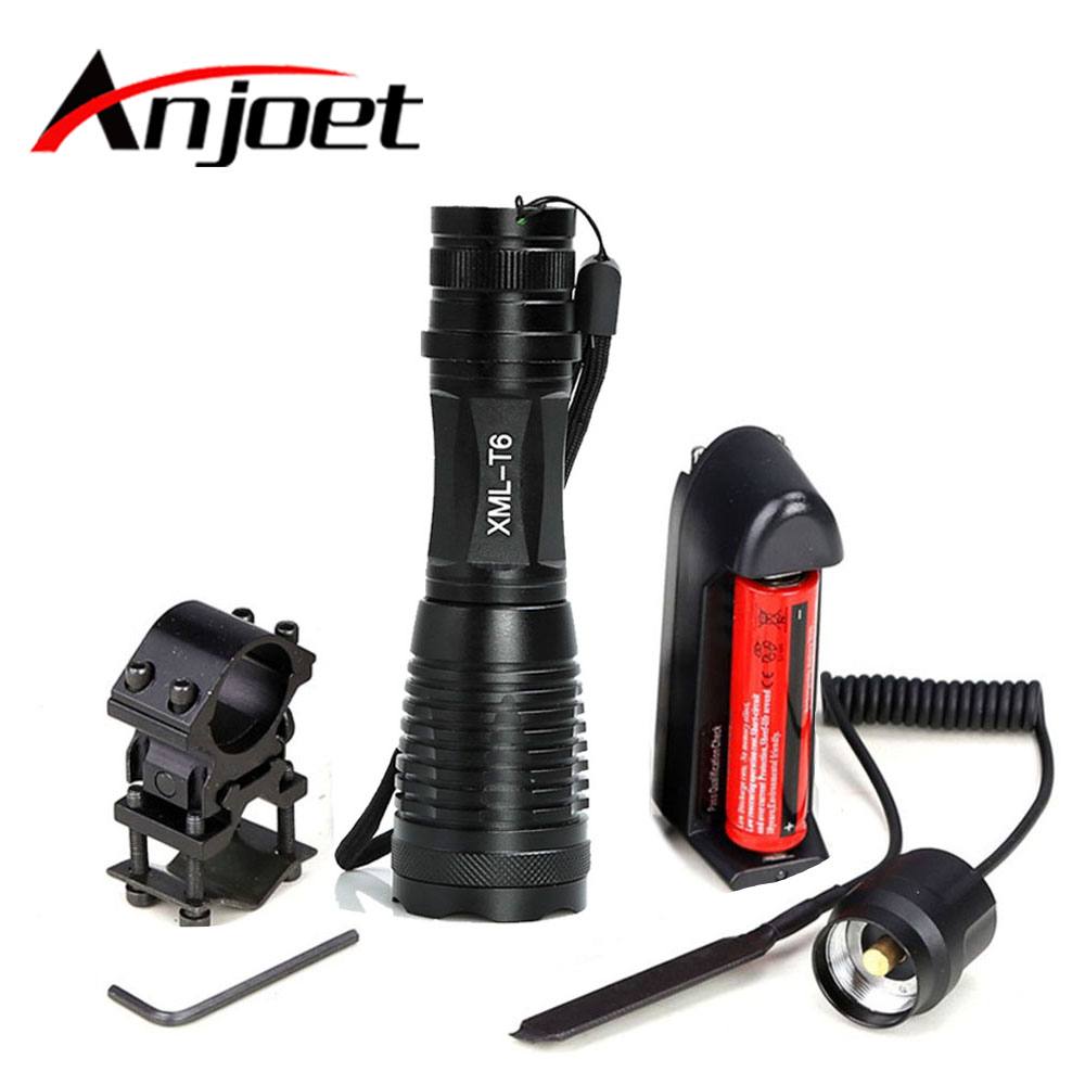 Anjoet Hunting Tactical Flashlight XM-L T6 led 2000Lm 5Mode Zoomable torch light+1*18650 battery+Remote Switch+Charger+Gun Mount led flashlight 3800 lumnes cree xm l t6 led tactical flashlight torch 5mode zoomable flashlight waterproof torch light lanternas