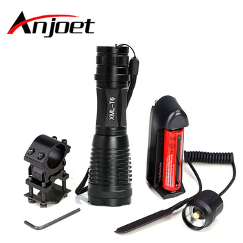 цена на Anjoet Hunting Tactical Flashlight XM-L T6 led 2000Lm 5Mode Zoomable torch light+1*18650 battery+Remote Switch+Charger+Gun Mount