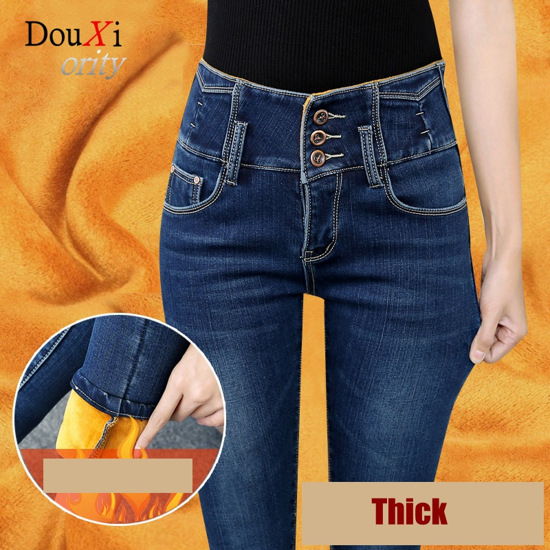 Douxiority Jeans For High Waist Stretch Skinny Slim Winter Plus Velvet Thicken Winter Warm Pencil Pants Denim Trousers Calca 2017 new jeans women spring pants high waist thin slim elastic waist pencil pants fashion denim trousers 3 color plus size