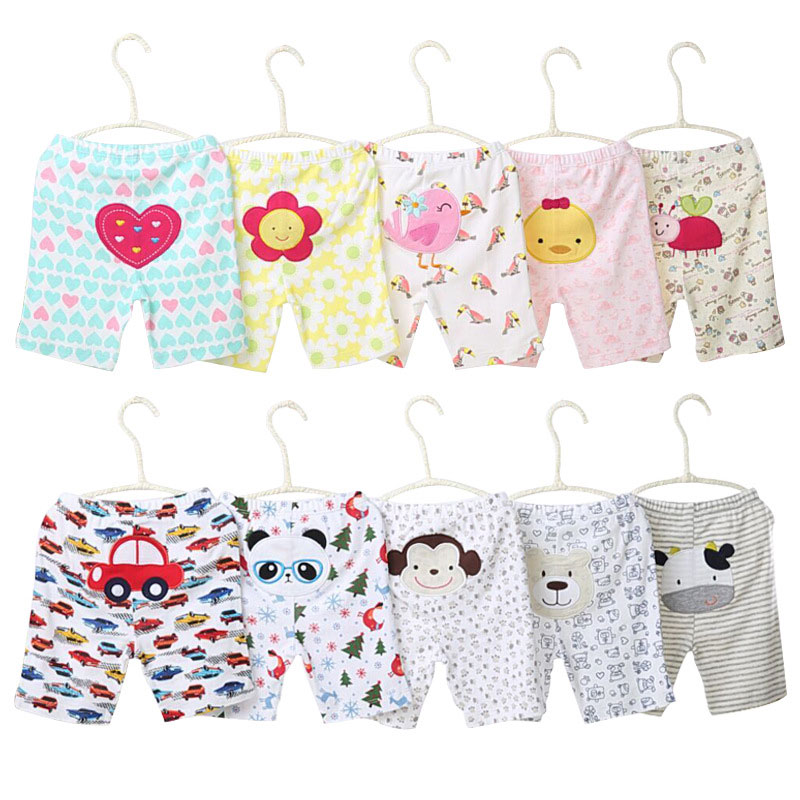 [5Pcs/lot Random Color]Cartoon Print Baby Shorts Cotton Baby Girl Shorts Summer Toddler Unisex Short Pants Newborn Panties