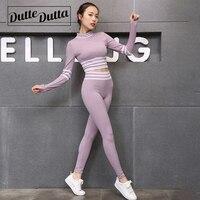 Women's Yoga Set Workout Clothes For Women Sport Suit Fitness Clothing Gym Set Women Sportswear Long Sleeve Sport Shirt Leggings