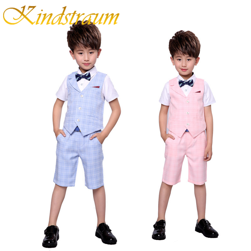 Kindstraum 2 UNIDS Chaleco + Pantalones Cortos Niños Ropa de Verano Conjuntos New Gentleman Children Wedding Party Wear Plaid Trajes Formales, MC716