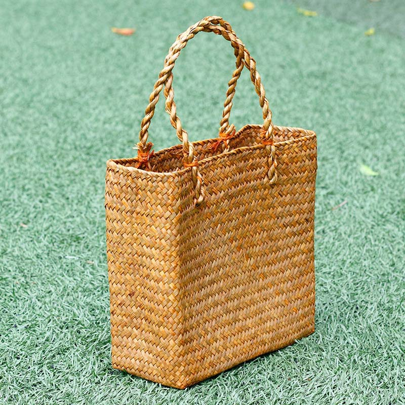 FGGS-Fashion Straw Summer Women Beach Handbags Female Flap Handbags Designer Lady Retro Rattan Handmade Tote Bag
