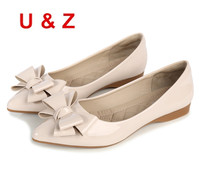 Plus Big Size 43 Fashion Air Cushioned Insole Soft Women Flat Shoes Red Beige Patent Leather