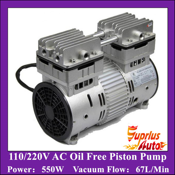 HYW-550 AC 110/220V 550W Double Heads Oilless Piston Compressor Pump with 67L/min vacuum flow Vacuum Pump manka care 110v 220v ac 50l min 165w small electric piston vacuum pump silent pumps oil less oil free compressing pump