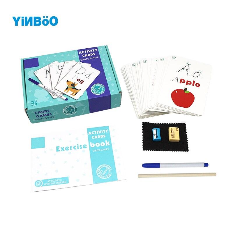 Puzzle en bois éducation précoce écriture carte alphanumérique écriture carte Cognitive effacer répétition exercice jouets éducatifs envoyer b