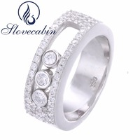 Slovecabin Nguyên Chất 925 Sterling Bạc Ba Di Chuyển Đá Ring Cho phụ nữ Chất Lượng Cao Pave Đá Wedding Ring Phụ Nữ Món Quà Tốt Nhất Bague