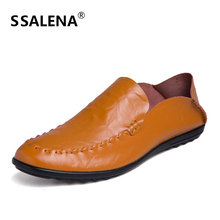 Men Loafers Low Fashion Leather Casual Shoes Summer Breathable Shoes Men Moccasins Comfortable Slip On Flats Shoes AA12303