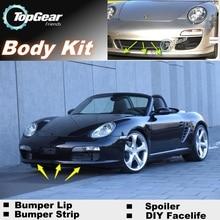 Для Porsche Boxster 986 987 981 бампер губы/Top gear магазин спойлер для Тюнинг автомобилей/TOP gear обвес комплект+ полоса