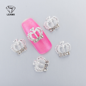 10Pcs 3D Nail Art Decorations Metal large Crown Glitter Rhinestones Nails Charms Diamonds For Manicure Decor 10pcs 3d nail rhinestones glitter diamond crystal for nails metal jewelry nail art decorations diy charms wholesale 2019