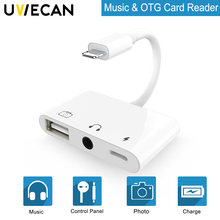 3 in 1 OTG Adapter For Lightning to Audio USB Camera Reader With Charge Port&3.5mm Earphone Jack iPhone X/8Plus/7Plus/8/7
