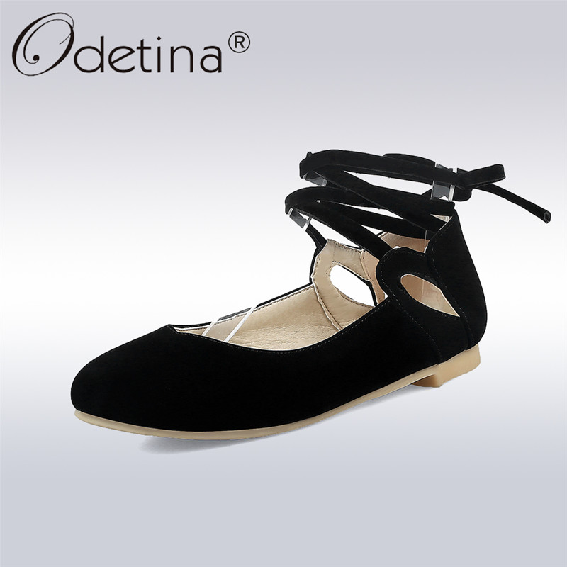Odetina 2018 New Fashion Ballet Flats Women Elegant Shoes Ankle Strap Flats Casual Solid Shoes Cross Tied Footwear Big Size 43 odetina 2017 new summer women ankle strap ballet flats buckle hollow out flat shoes pointed toe ladies comfortable casual shoes