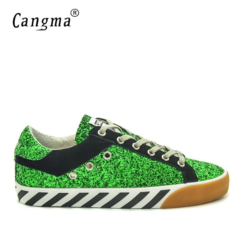 Autunno Vintage Da Dell'annata Dimensioni Nero Verde Marca Sneakers Scarpe Vintage no Cangma Più Appartamenti Glitter Mujer Originale Di Zapatos Paillettes Donna MwTX8qwfUy