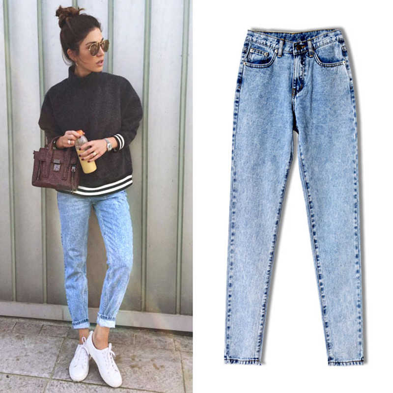 2017 High Quality Women Long Jeans High Waist 100% Cotton Snow Wash Type Denim Jeans Vintage Loose Straight Denim Jeans Trousers (6)_