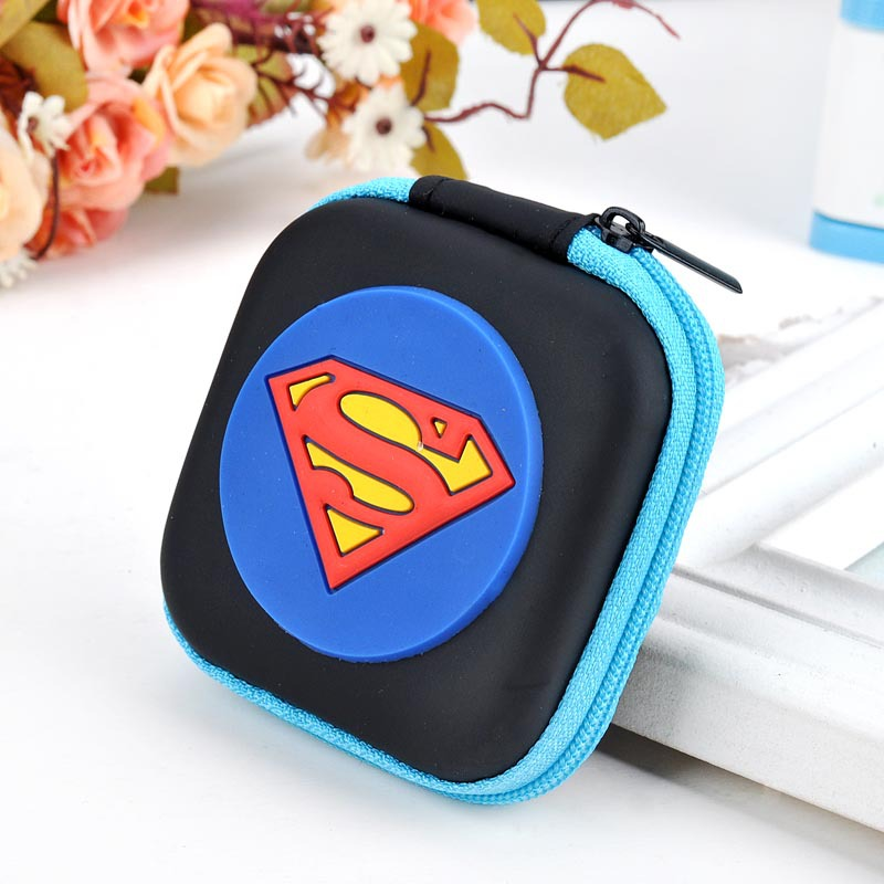 Hot New 2017 Silicone Coin Bag Cartoon Anime Hero Superman Purse Wallet Mini Headset Holder Case Gift Kids Coin Key Wallets