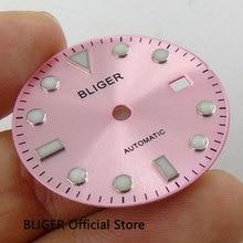 Классический 28,5 мм BLIGER розовый циферблат светящиеся знаки окошко даты циферблат подходит для Miyota 8215 8205 Минчжу 2813 движение D89