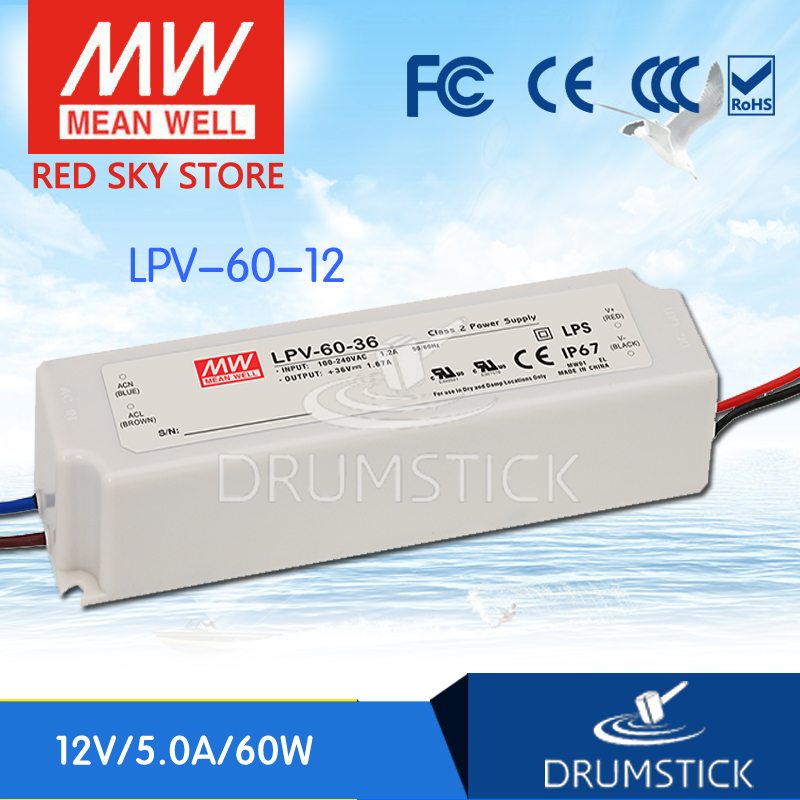 MEAN WELL LPV-60-12 12V 5A meanwell LPV-60 60W Single Output LED Switching Power SupplyMEAN WELL LPV-60-12 12V 5A meanwell LPV-60 60W Single Output LED Switching Power Supply