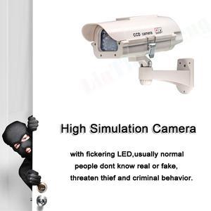 Image 5 - LINTIANCHENG Dummy מזויף מצלמה שמש מופעל חיצוני טלוויזיה במעגל סגור אבטחת בית מעקב וידאו עם Led אור Dummy מצלמה