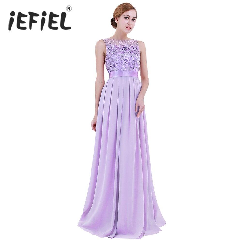 iEFiEL Lavender Weeding Dress Eleglant Women Ladies ...