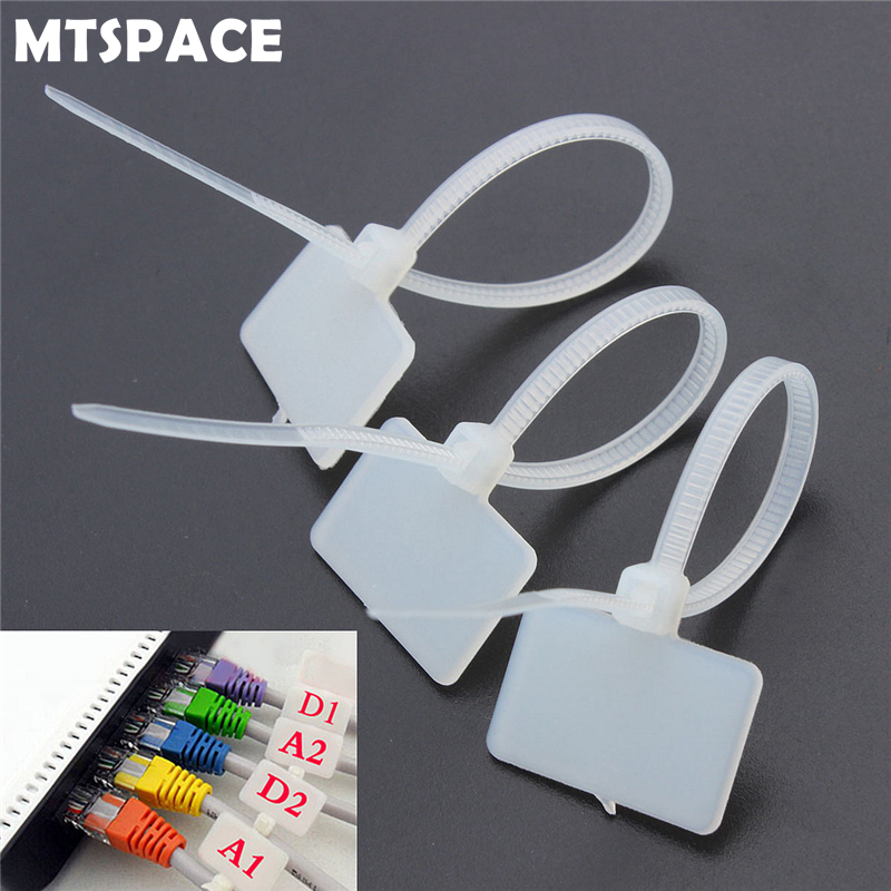 MTSPACE 100Pcs Zip Ties Write Wire Power Cable Label Mark Tag Nylon Self-Locking Tie Network Cable Marker Cord Wire Strap Zip 100pcs lot 100mm x 3mm self locking network nylon plastic cable wire zip tie cord strap