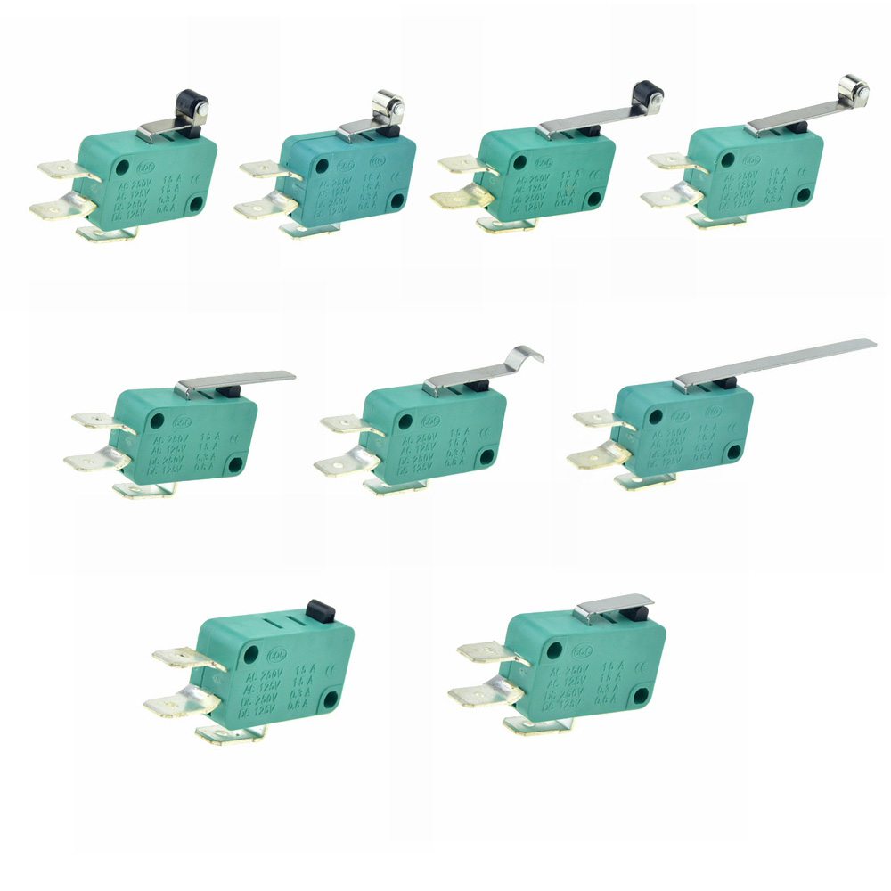 Micro Limit Switches 16A 250V 125V NO+NC+COM 6.3mm 3 Pins SPDT Micro Switch 28mm 52mm Arc Roller Lever Touch Switch Microswitch