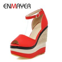 ENMAYER New Fashion Summer Super High Wedges Shoes for Women  Casual Mixed Colors Gladiator Sandals Size 34-39 LY1507