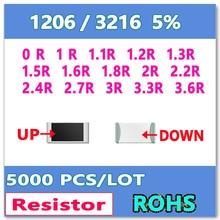 JASNPROSMA 1206 J 5% 5000pcs 0R 1R 1.1R 1.2R 1.3R 1.5R 1.6R 1.8R 2R 2.2R 2.4R 2.7R 3R 3.3R 3.6R smd 3216 OHM Resistor