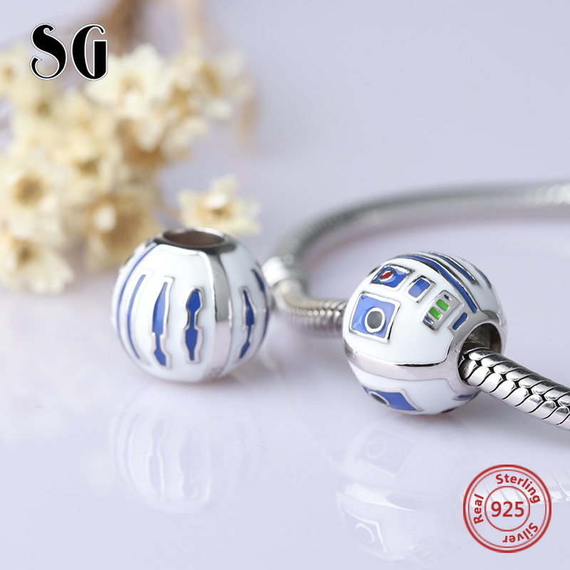SG the movie show Robot Beads 925 Sterling Silver Charms with enamel Fit Original pandora Bracelets Jewelry accessories gifts