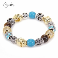 Thomas Style KM Bead Bracelet With CROSS TIGER EYE TURQUOISE WAVE SKULL Beads Rebel Heart Bracelet