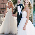 New Simple White Ball Gown Wedding Dresses 2016 Fashion Sweetheart Spaghetti Strap Long Wedding Dress Cheap Wedding Gowns