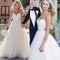 Novo Simples Branco vestido de Baile Vestidos de Casamento 2016 Moda Querida Spaghetti Strap Longo Vestido de Noiva Vestidos de Casamento Baratos