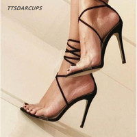 TTSDARCUPS fashion Star style New street and show Strappy sandals Sexy night shop Cool and refreshing High heeled shoes