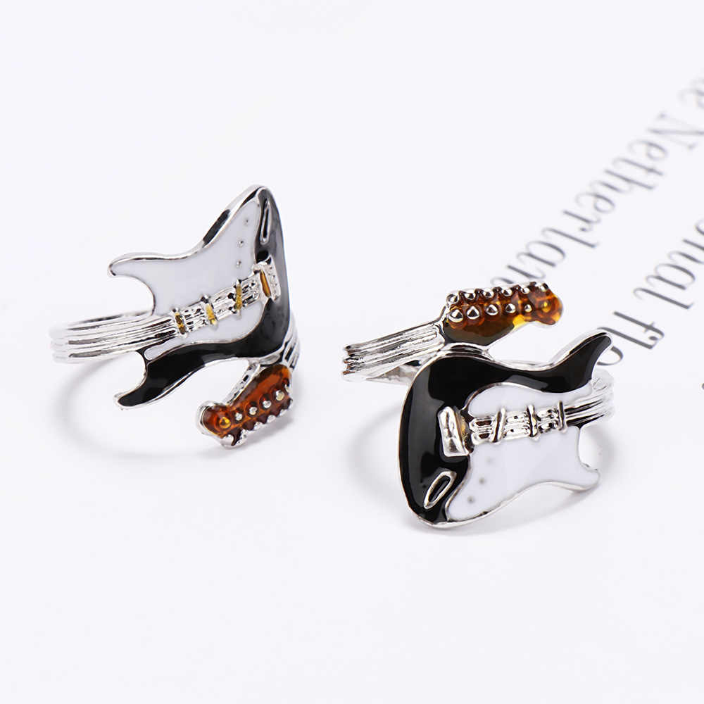 Personalized Punk Style Exaggeration Ring Creative Black White Oiled Guitar Ring Music Shiny Rings Women and Men Jewelry
