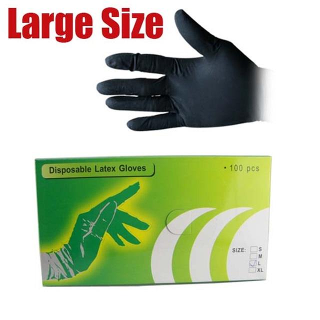 Solong Tattoo 100Pcs/bag Black Disposable Tattoo Latex Gloves Size L TC106-1