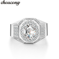 Choucong Vintage Men Jewelry Ring Oval Cut 2ct5A Zircon Cz 925 Sterling Silver Male Emgagement Wedding