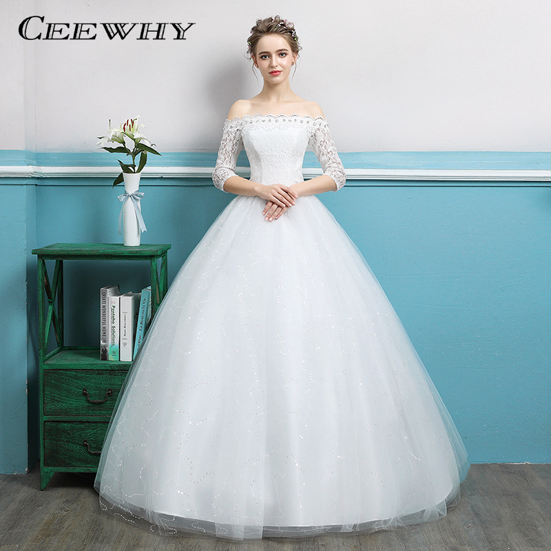 CEEWHY Boat Neck Half Sleeve Ball Gowns Lace Wedding Dresses Back Lace-up Robe de Mariee Bride Dresses Crystal Wedding Gown