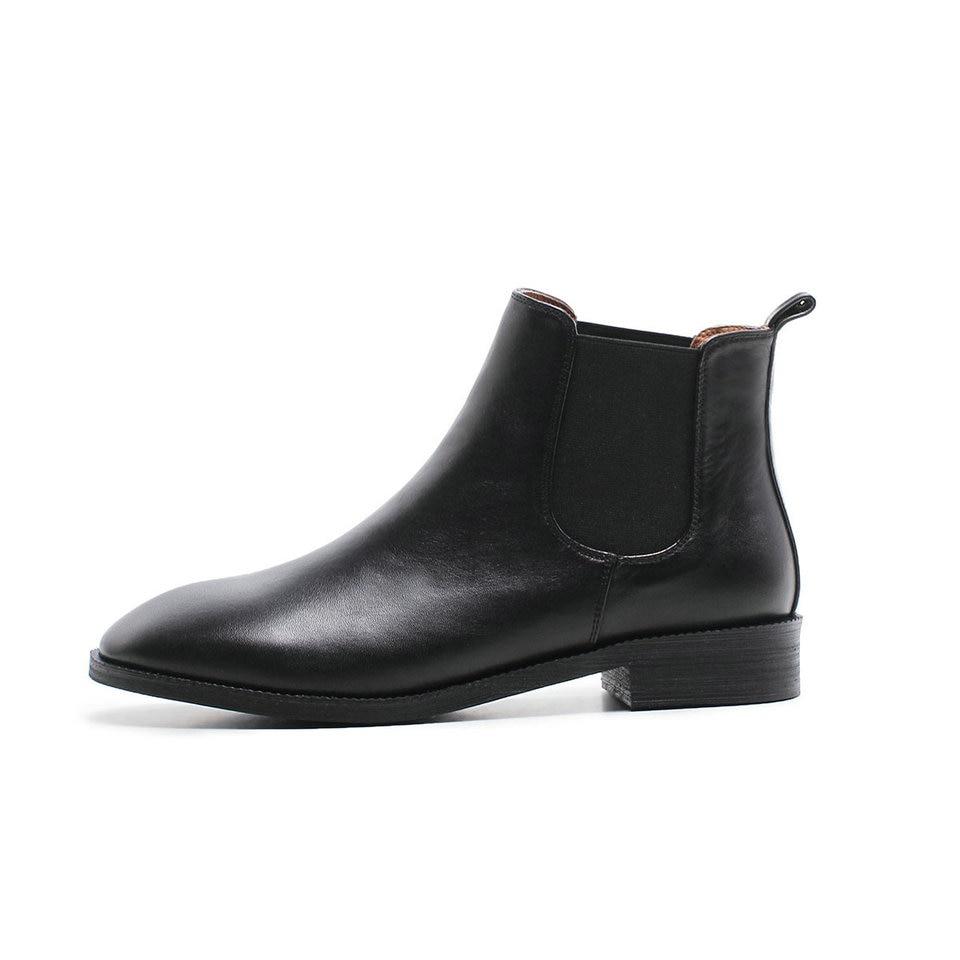 39 Talon Chaussures Femmes Bottes Mode Taille Eshtonshero Cheville Bout Cuir 34 Plat Dames Pointu Moto Noir Femme En Véritable marron De U5Aqw0A