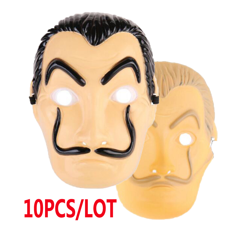 10pcs/lot hot crime movie Paper house La Casa De Papel Dali Mask Cruises Carnival Halloween Party Dress Up Props