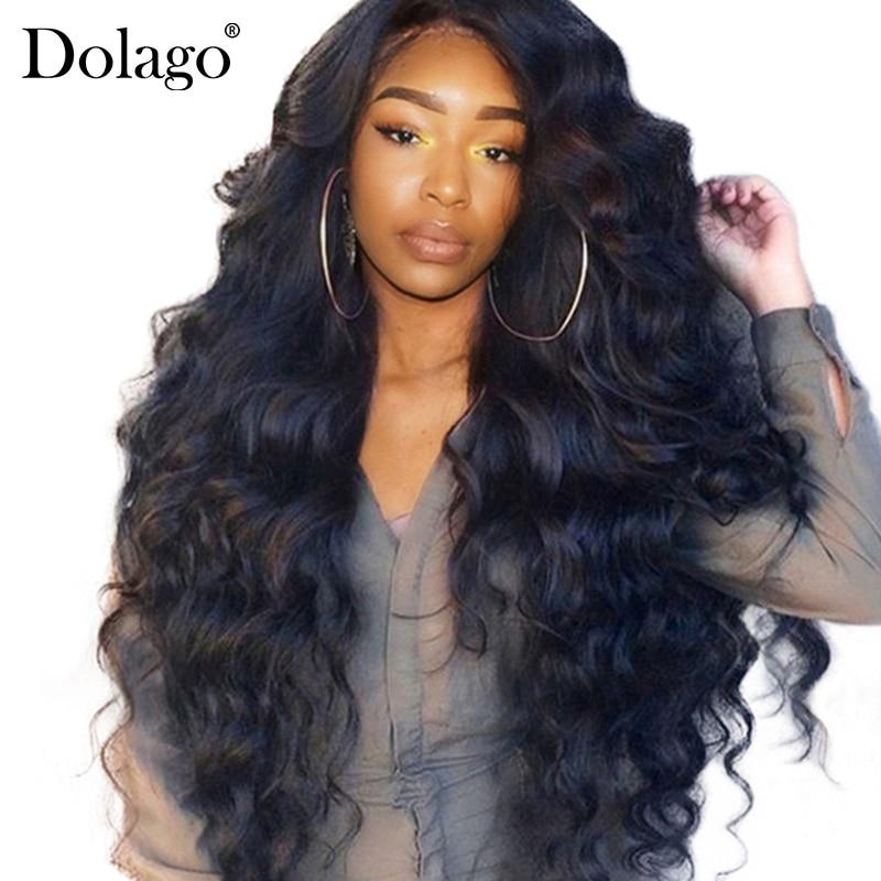 250% плотность Синтетические волосы на кружеве человеческих волос парики для Для женщин предварительно сорвал с ребенком волос черный объемная волна бразильский кружева парик Dolago remy