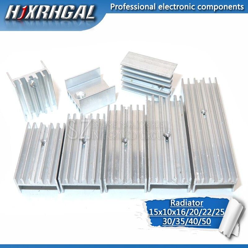 10pcs Aluminum Heatsink Radiator 15*10*16/20/22/25/30/40/50mm Transistor TO-220  Hjxrhgal For Transistors TO220 White HJXRHGAL