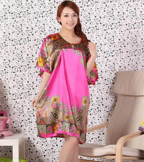 Plus Size Fashion Women Bath Robe Nightgown Pijama Mujer Printed Design Female Rayon Nightdress Summer Night Gown Zh334H