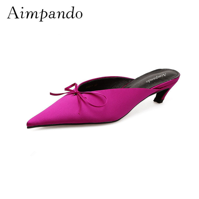 Luxury Satin Slippers Women Sexy Pointy Toes Low Fronted Shallow Kitten Heel Spring Summer Bowtie Mules