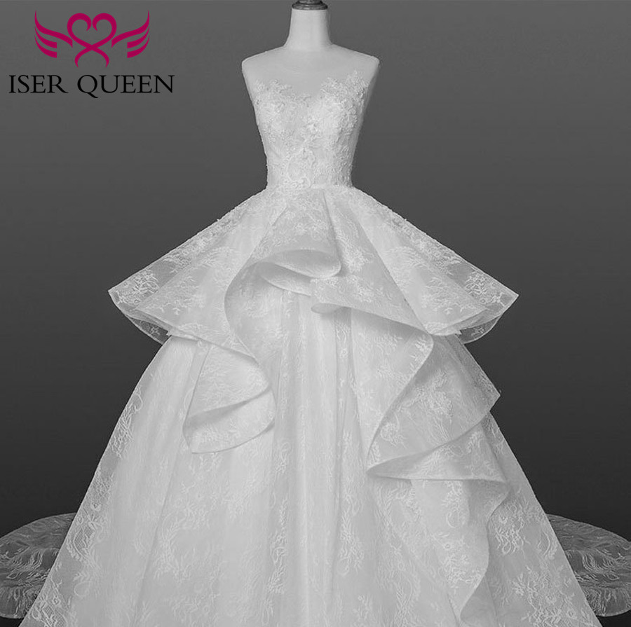 Boat Neck Delicate Illusion Embroidery Lace Up Big Train Tiered Tulle Wedding Dresses Pure White A-line Ruffle Vestido WX0159
