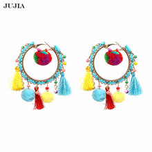 Colorful Ethnic Bohemian Big Round Hoop Earrings for Women Fashion Pom Pom Big India Jewelry Vintage 2019(China)